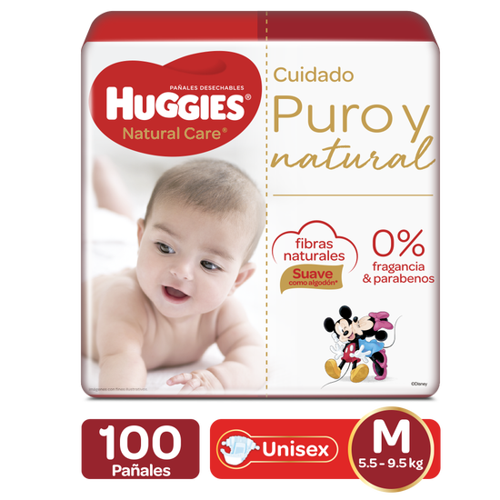 Pañales Huggies Natural Care Etapa 2/M, 100uds