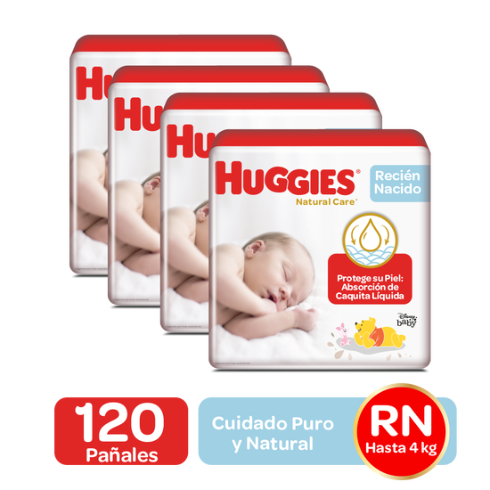 Combo Pañales Huggies Natural Care Recién Nacido, 120uds