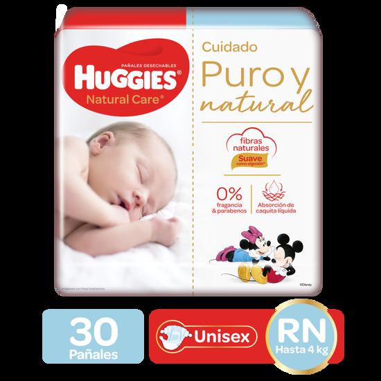 Pañales Huggies Natural Care Etapa 0/RN, 30uds
