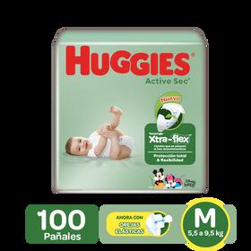 Pañales Huggies Active Sec Xtra-Flex Etapa 2/M, 100 Uds