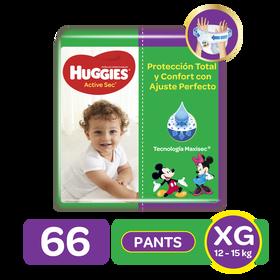 Pants Huggies Active Sec Etapa 4/XG, 66uds