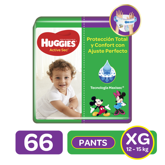 Pants Huggies Active Sec Etapa 4/XG, 66uds