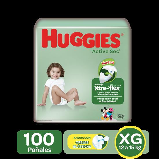 Pañales Huggies Active Sec Xtra-Flex Etapa 4/XG, 100 Uds