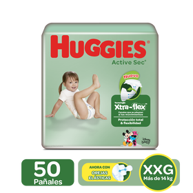 Pañales Huggies Active Sec Xtra-Flex Etapa 5/XXG, 50 Uds
