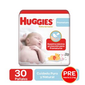 Pañales Huggies Natural Care Etapa 0/Prematuro, 30 Uds