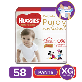 Pants Huggies Natural Care Etapa 4/XG, 58Uds