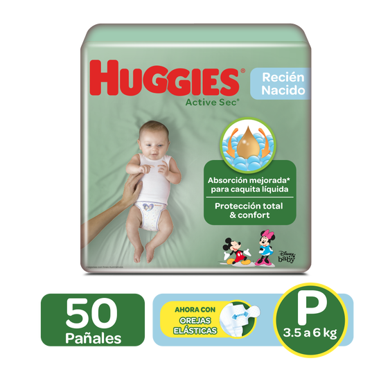 Pañales Huggies Active Sec Etapa 1/P, 50 Uds