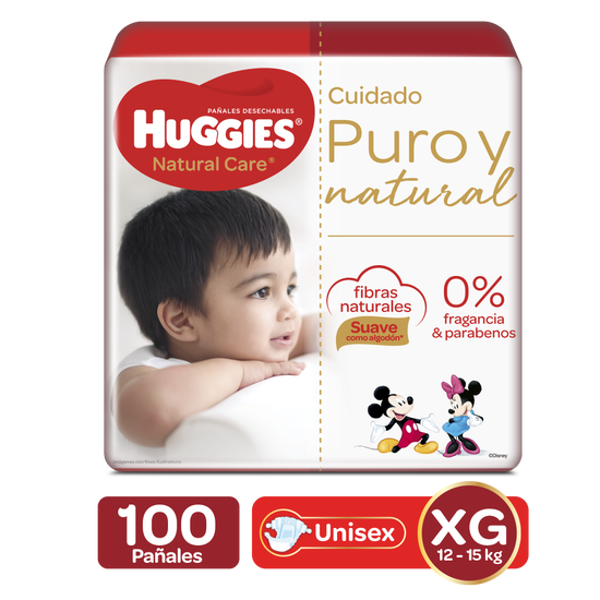 Pañales Huggies Natural Care Etapa 4/XG, 100uds