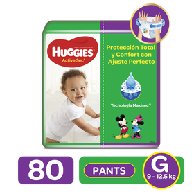 Pants Huggies Active Sec Etapa 3/G, 80uds
