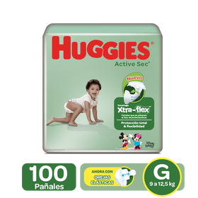 Pañales Huggies Active Sec Xtra-Flex Etapa 3/G, 100 Uds