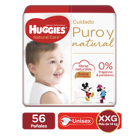 Pañales Huggies Natural Care Etapa 5/XXG, 56uds